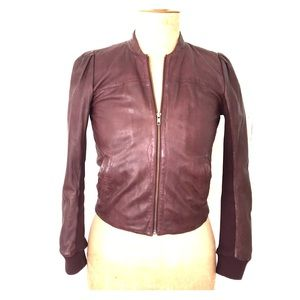 Hinge leather jacket, burgundy, sz S
